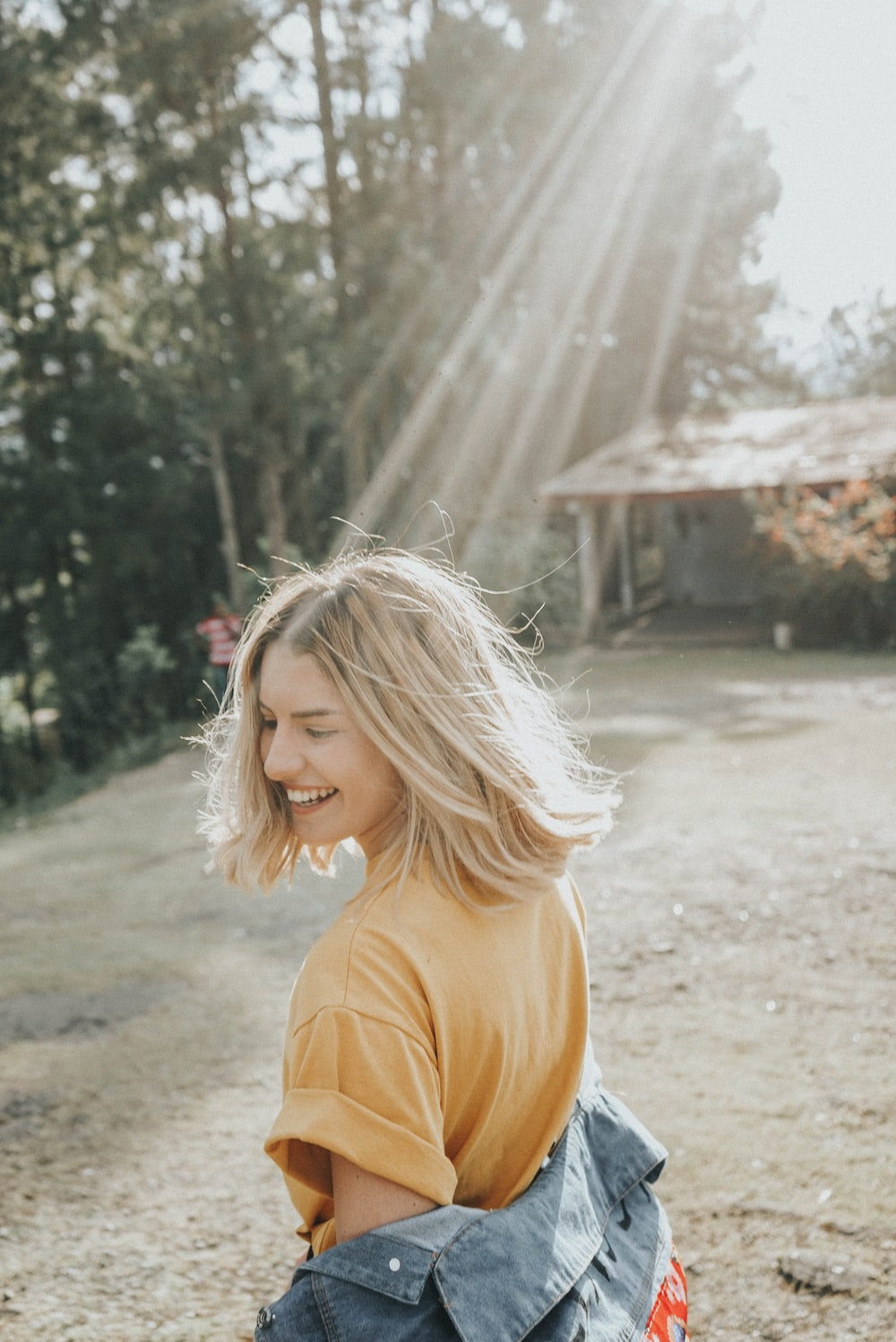 Happy Blonde Girl In Forest Camp